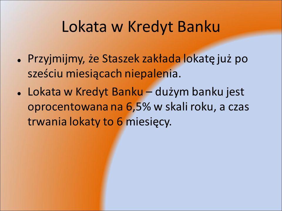 Lokata w Kredyt BankuPrzyjmijmy, że Staszek zakłada lokatę już po sześciu miesiącach niepalenia.