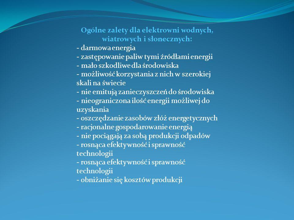 Ogólne zalety dla elektrowni wodnych, wiatrowych i słonecznych: