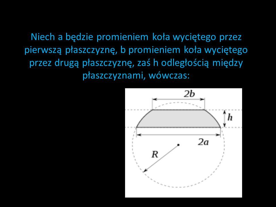 Niech a będzie promieniem koła wyciętego przez pierwszą płaszczyznę, b promieniem koła wyciętego przez drugą płaszczyznę, zaś h odległością między płaszczyznami, wówczas: