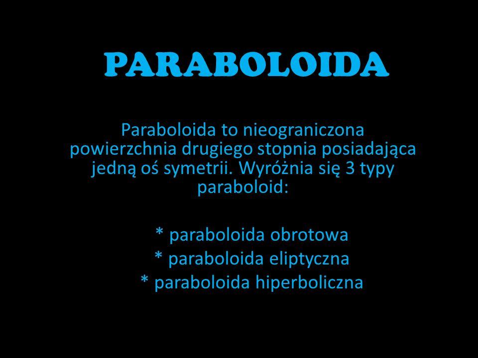 PARABOLOIDA Paraboloida to nieograniczona powierzchnia drugiego stopnia posiadająca jedną oś symetrii. Wyróżnia się 3 typy paraboloid: