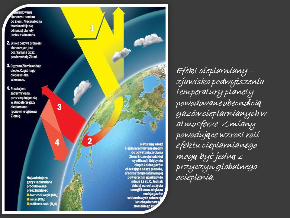 Efekt cieplarniany – zjawisko podwyższenia temperatury planety powodowane obecnością gazów cieplarnianych w atmosferze.