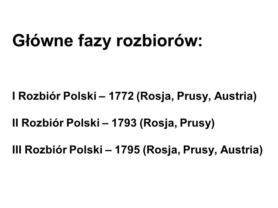 Główne fazy rozbiorów: I Rozbiór Polski – 1772 (Rosja, Prusy, Austria) II Rozbiór Polski – 1793 (Rosja, Prusy) III Rozbiór Polski – 1795 (Rosja, Prusy, Austria)