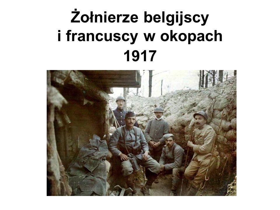 Żołnierze belgijscy i francuscy w okopach 1917