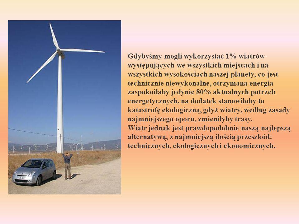 Gdybyśmy mogli wykorzystać 1% wiatrów występujących we wszystkich miejscach i na wszystkich wysokościach naszej planety, co jest technicznie niewykonalne, otrzymana energia zaspokoiłaby jedynie 80% aktualnych potrzeb energetycznych, na dodatek stanowiłoby to katastrofę ekologiczną, gdyż wiatry, według zasady najmniejszego oporu, zmieniłyby trasy.