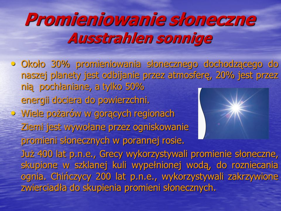 Promieniowanie słoneczne Ausstrahlen sonnige