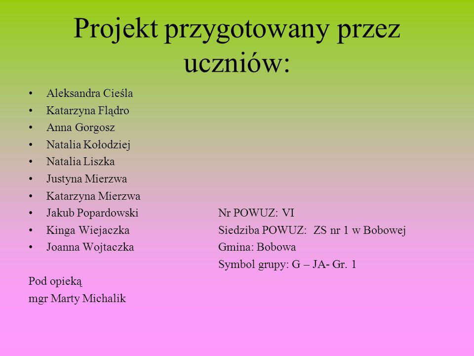 Projekt przygotowany przez uczniów: