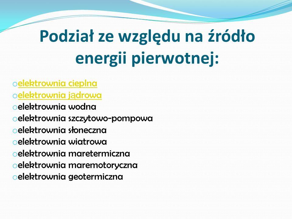 Podział ze względu na źródło energii pierwotnej:
