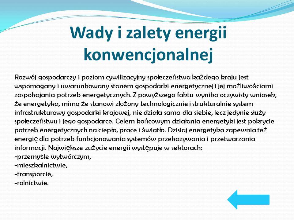 Wady i zalety energii konwencjonalnej