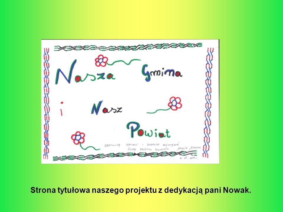 Strona tytułowa naszego projektu z dedykacją pani Nowak.