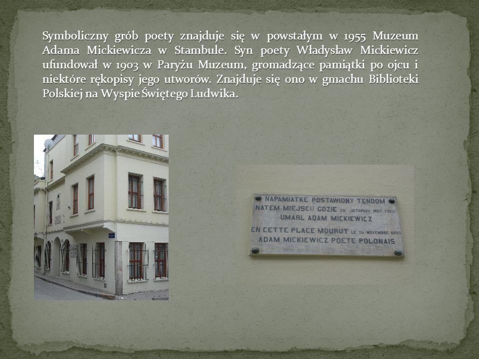 Symboliczny grób poety znajduje się w powstałym w 1955 Muzeum Adama Mickiewicza w Stambule.