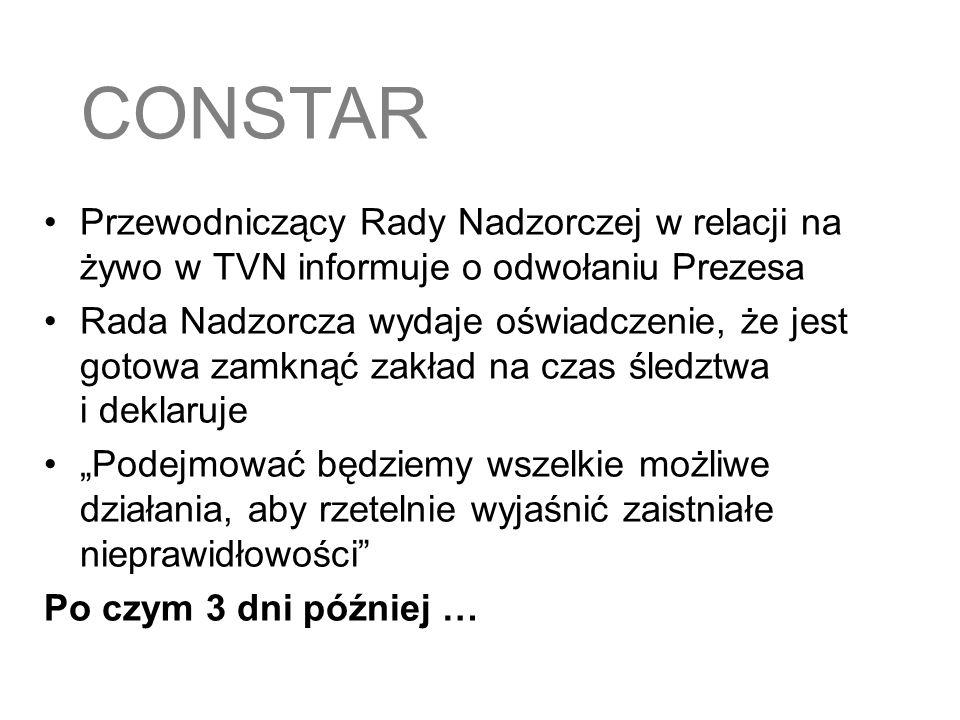 CONSTARPrzewodniczący Rady Nadzorczej w relacji na żywo w TVN informuje o odwołaniu Prezesa.
