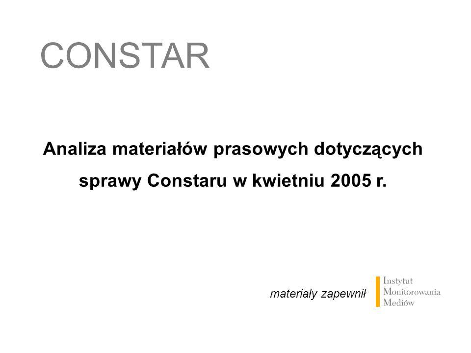 CONSTAR Analiza materiałów prasowych dotyczących sprawy Constaru w kwietniu 2005 r.