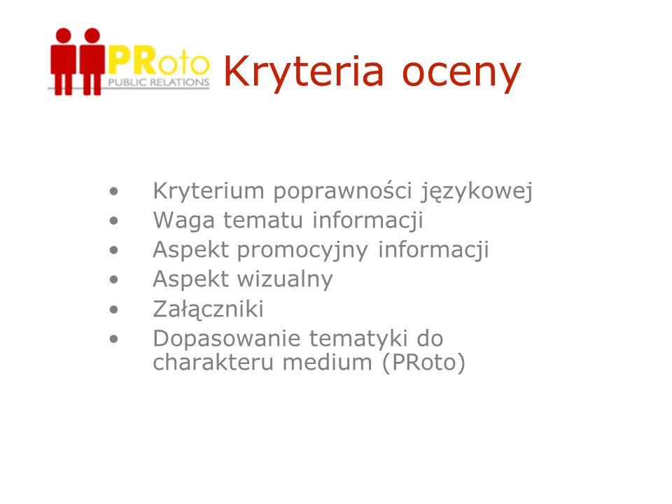 Kryteria oceny Kryterium poprawności językowej Waga tematu informacji