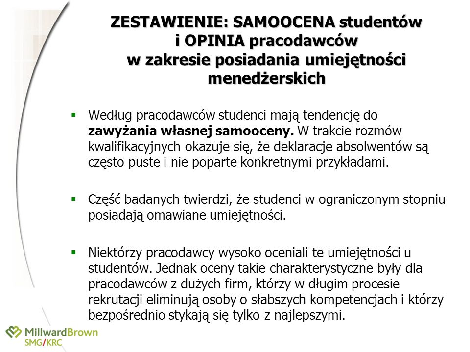 ZESTAWIENIE: SAMOOCENA studentów i OPINIA pracodawców w zakresie posiadania umiejętności menedżerskich