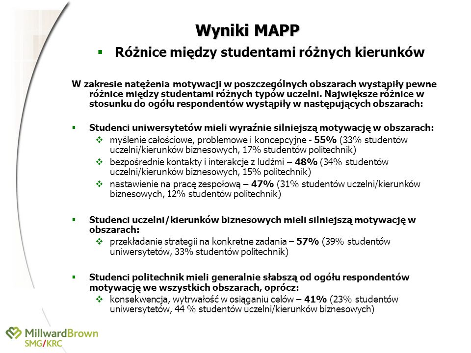 Różnice między studentami różnych kierunków