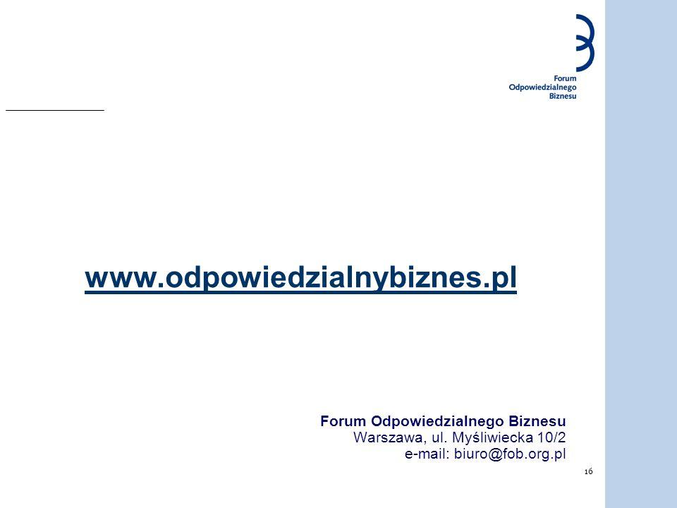 www.odpowiedzialnybiznes.pl Forum Odpowiedzialnego Biznesu Warszawa, ul.