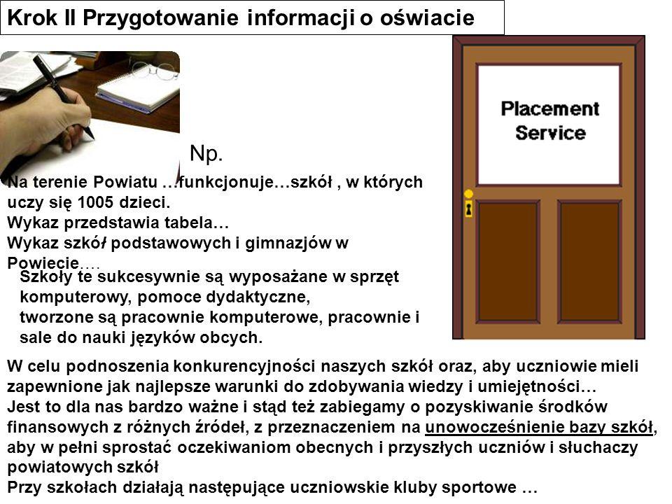 Krok II Przygotowanie informacji o oświacie