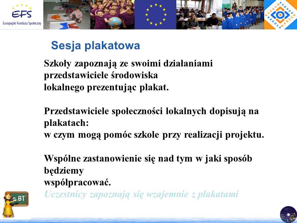 Sesja plakatowa Szkoły zapoznają ze swoimi działaniami przedstawiciele środowiska. lokalnego prezentując plakat.