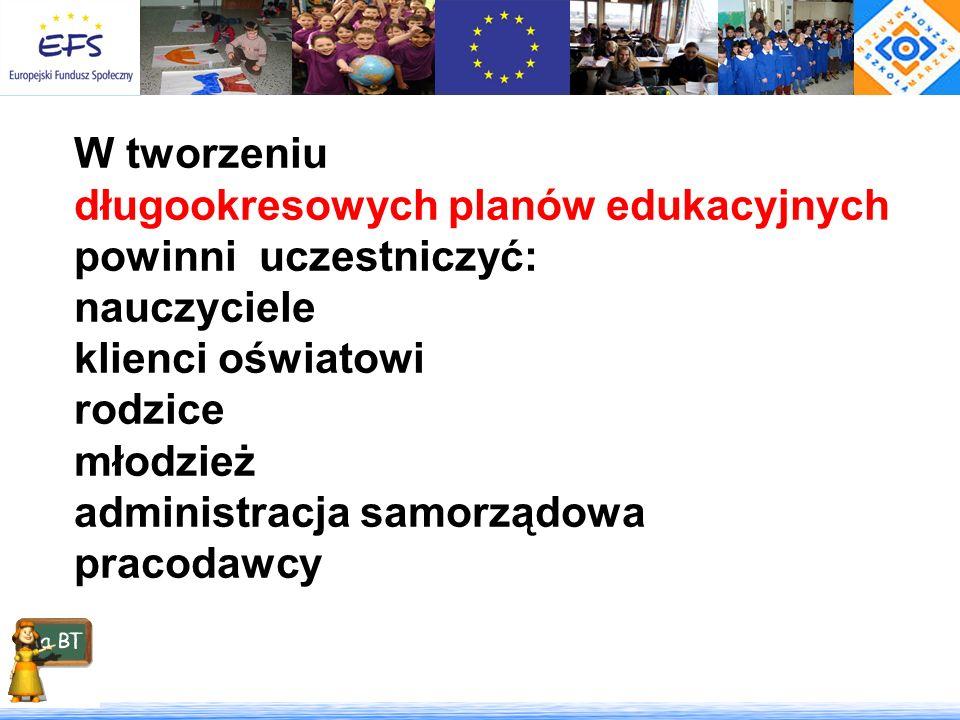 W tworzeniu długookresowych planów edukacyjnych. powinni uczestniczyć: nauczyciele. klienci oświatowi.