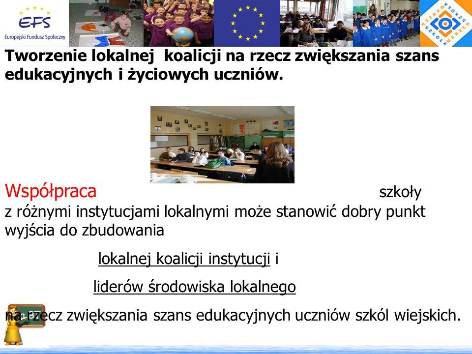 Tworzenie lokalnej koalicji na rzecz zwiększania szans edukacyjnych i życiowych uczniów.