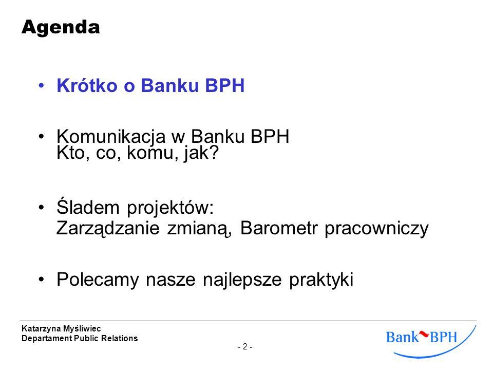 Agenda Krótko o Banku BPH. Komunikacja w Banku BPH Kto, co, komu, jak Śladem projektów: Zarządzanie zmianą, Barometr pracowniczy.