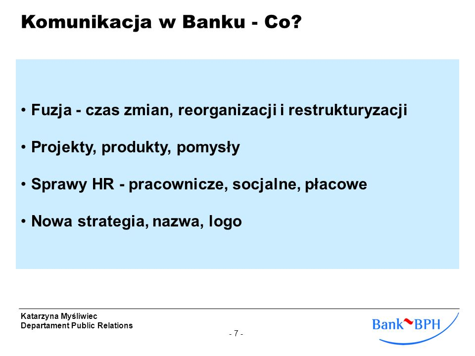 Komunikacja w Banku - Co