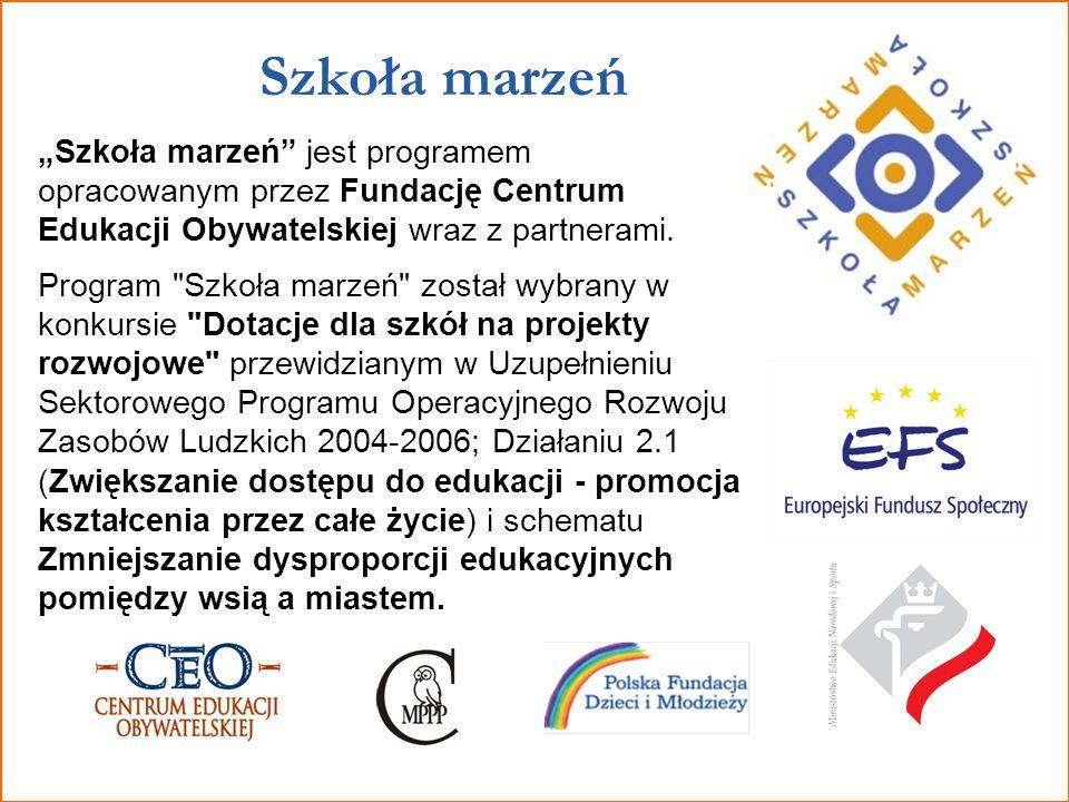 """Szkoła marzeń """"Szkoła marzeń jest programem opracowanym przez Fundację Centrum Edukacji Obywatelskiej wraz z partnerami."""