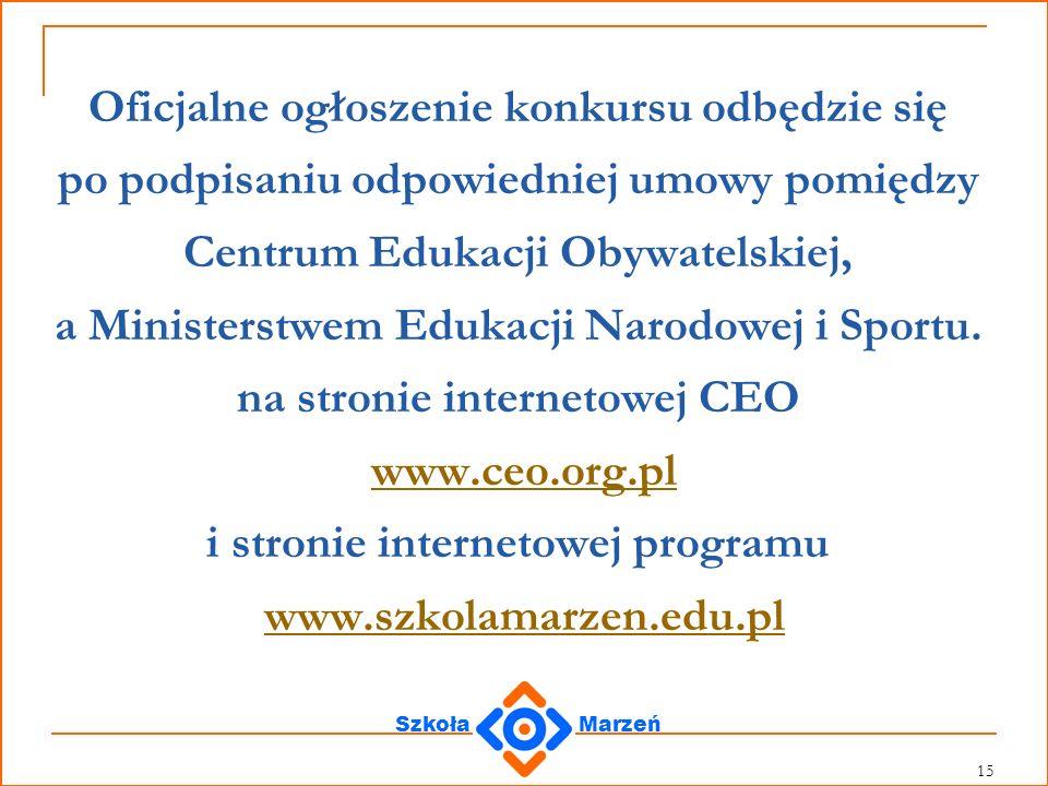 Oficjalne ogłoszenie konkursu odbędzie się po podpisaniu odpowiedniej umowy pomiędzy Centrum Edukacji Obywatelskiej, a Ministerstwem Edukacji Narodowej i Sportu.