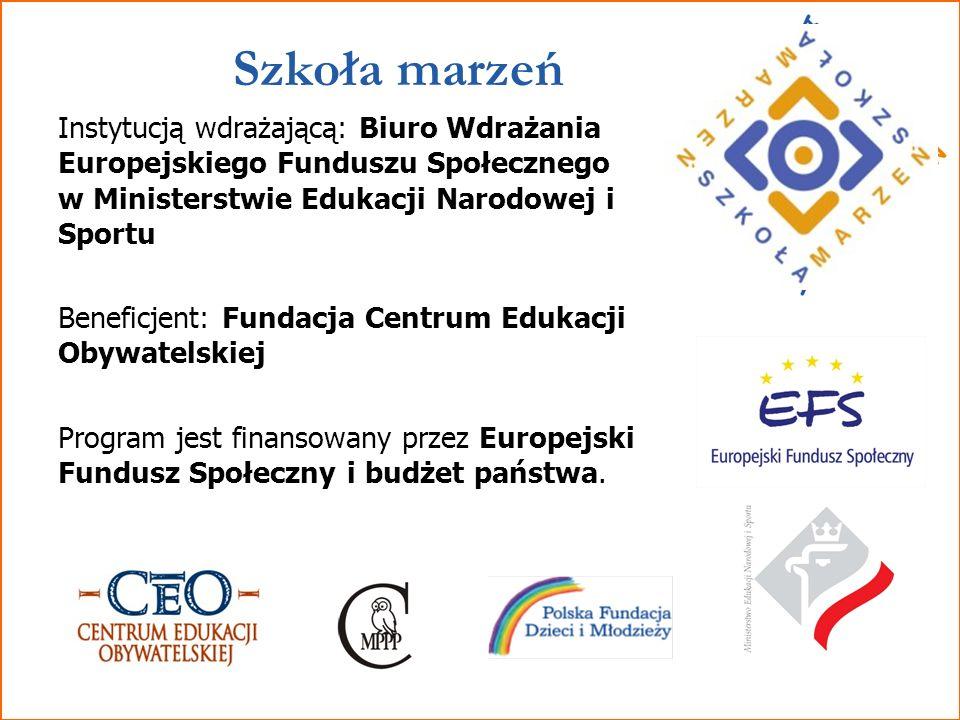 Szkoła marzeń Instytucją wdrażającą: Biuro Wdrażania Europejskiego Funduszu Społecznego w Ministerstwie Edukacji Narodowej i Sportu.