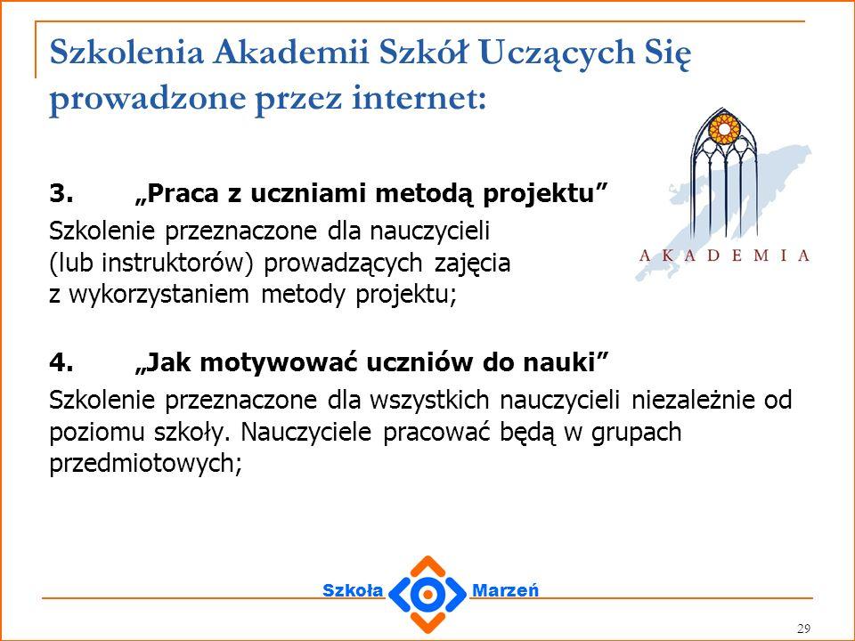 Szkolenia Akademii Szkół Uczących Się prowadzone przez internet: