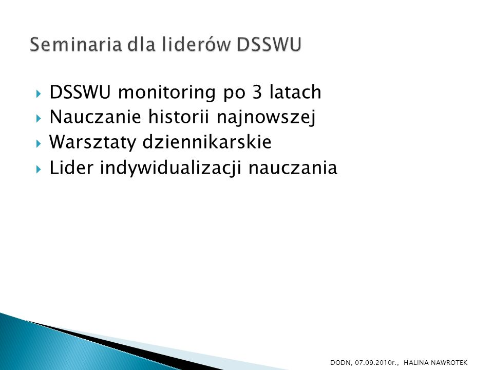 Seminaria dla liderów DSSWU