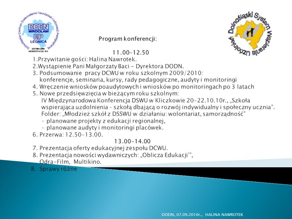Program konferencji: 11. 00-12. 50 1
