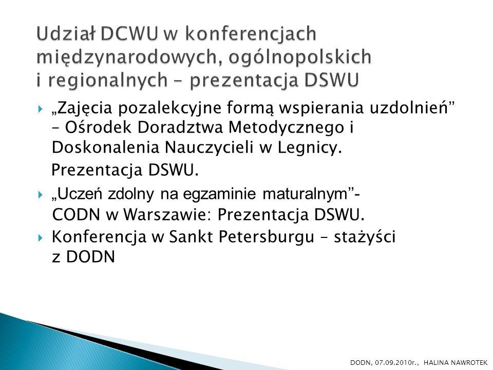 Udział DCWU w konferencjach międzynarodowych, ogólnopolskich i regionalnych – prezentacja DSWU