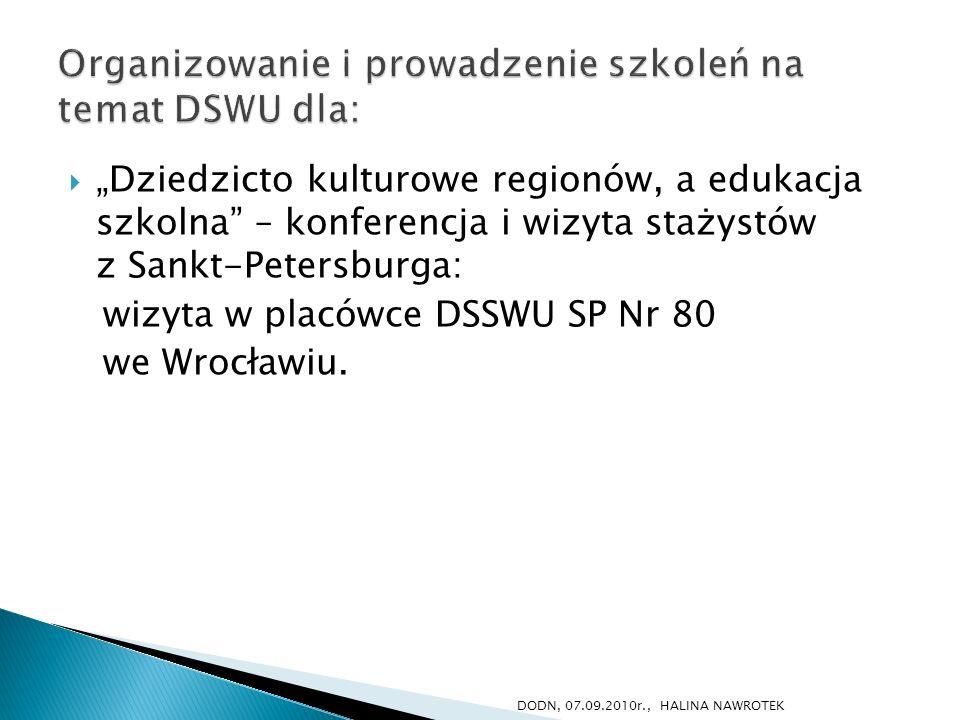 Organizowanie i prowadzenie szkoleń na temat DSWU dla: