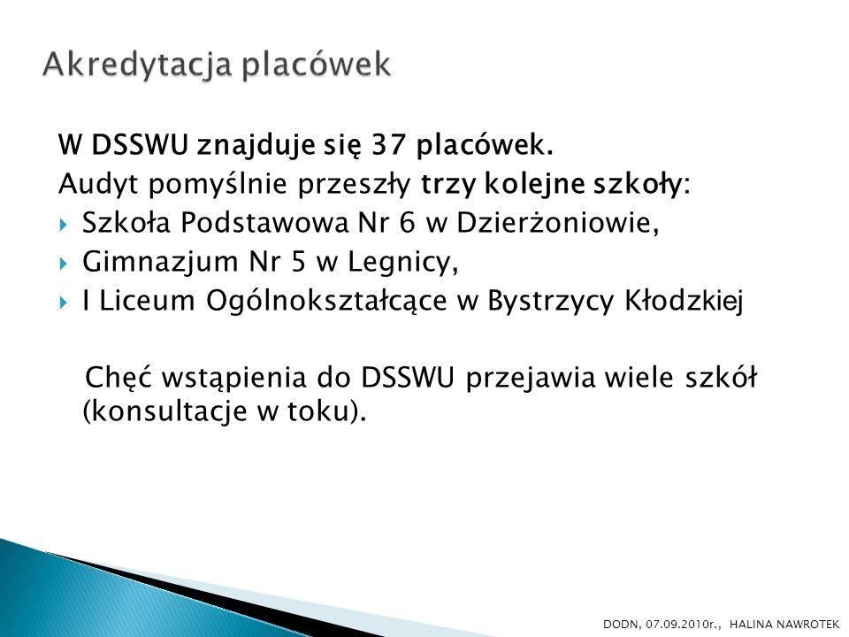 Akredytacja placówek W DSSWU znajduje się 37 placówek.