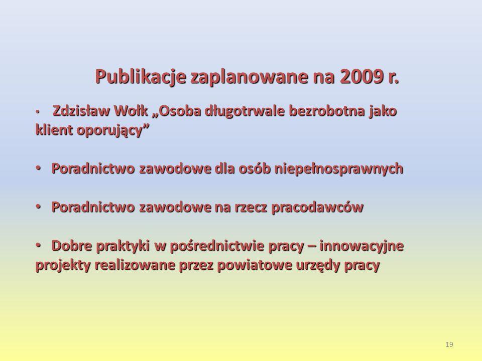 Publikacje zaplanowane na 2009 r.