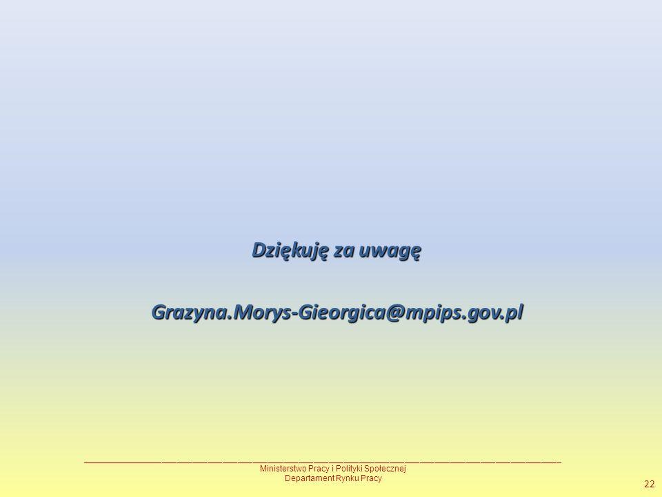 Dziękuję za uwagę Grazyna.Morys-Gieorgica@mpips.gov.pl