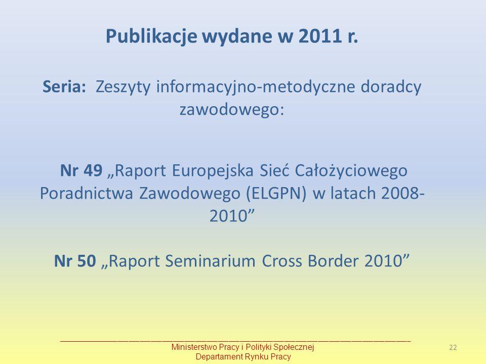"""Publikacje wydane w 2011 r. Seria: Zeszyty informacyjno-metodyczne doradcy zawodowego: Nr 49 """"Raport Europejska Sieć Całożyciowego Poradnictwa Zawodowego (ELGPN) w latach 2008-2010 Nr 50 """"Raport Seminarium Cross Border 2010"""