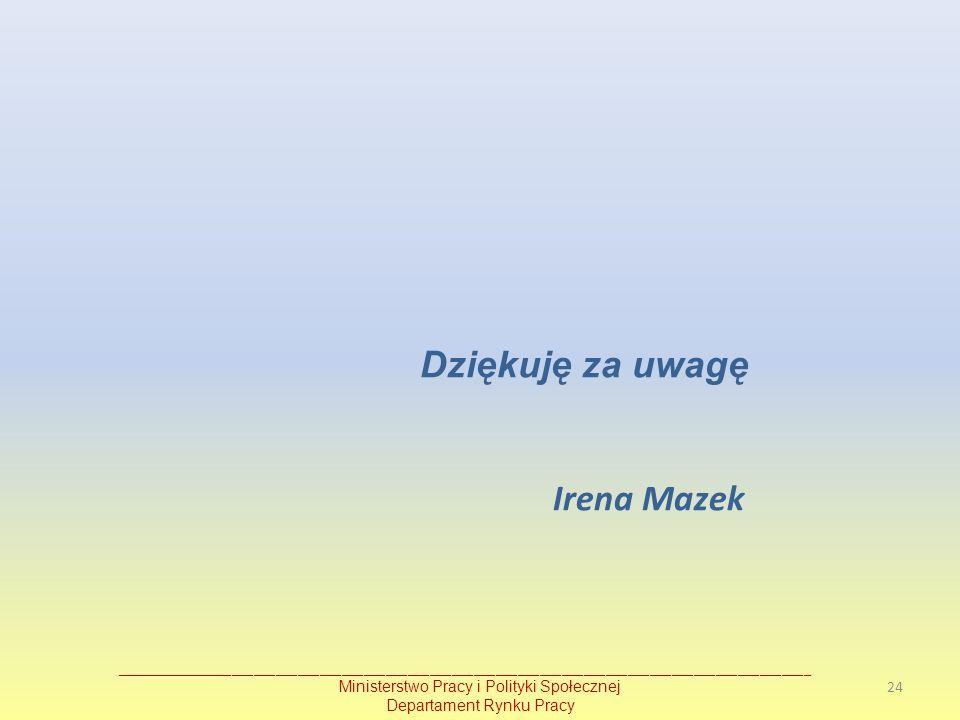 Dziękuję za uwagę Irena Mazek Ministerstwo Pracy i Polityki Społecznej