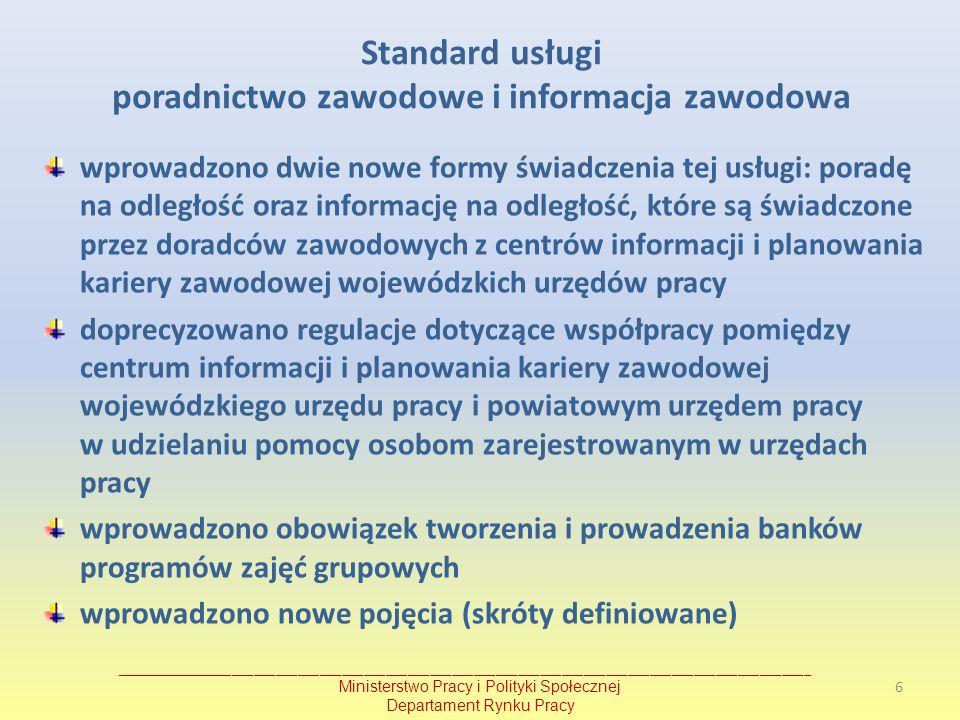 Standard usługi poradnictwo zawodowe i informacja zawodowa