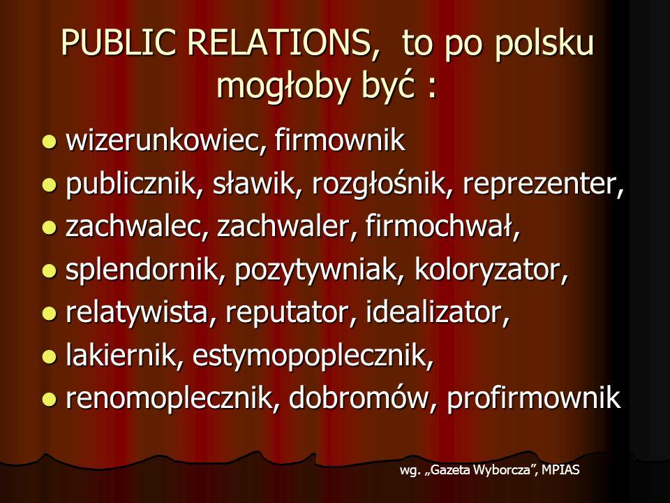 PUBLIC RELATIONS, to po polsku mogłoby być :
