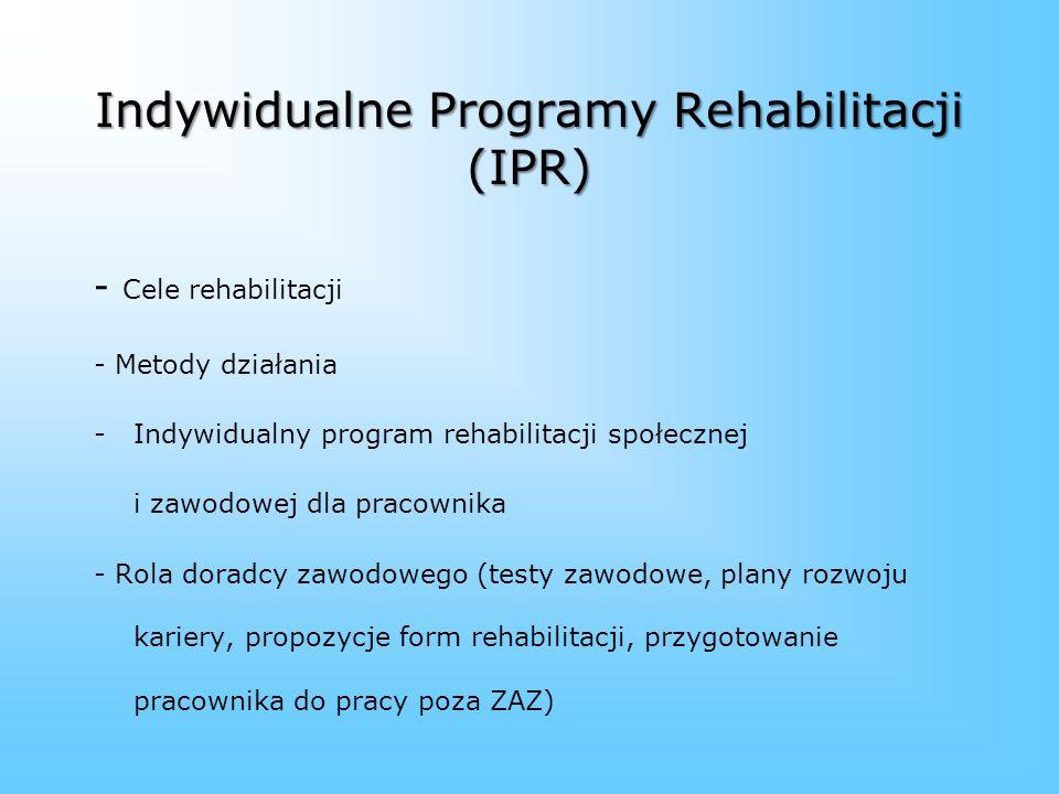 Indywidualne Programy Rehabilitacji (IPR)