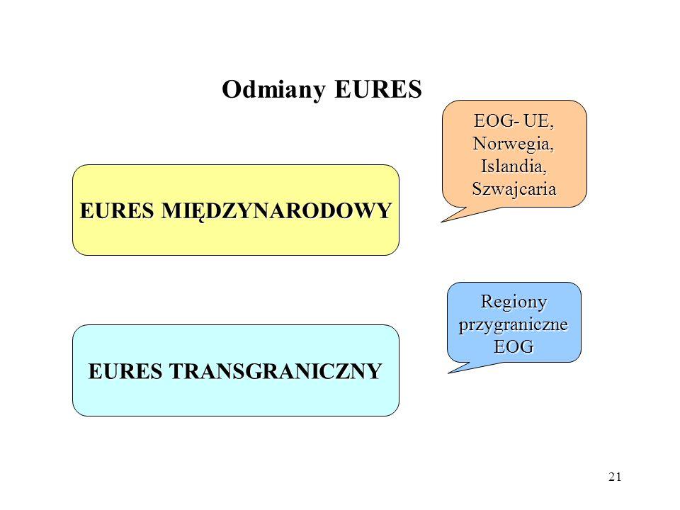 Odmiany EURES EURES MIĘDZYNARODOWY EURES TRANSGRANICZNY