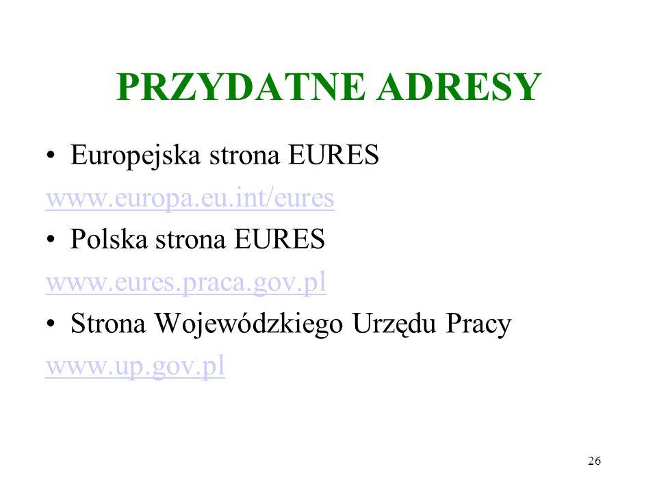 PRZYDATNE ADRESY Europejska strona EURES www.europa.eu.int/eures