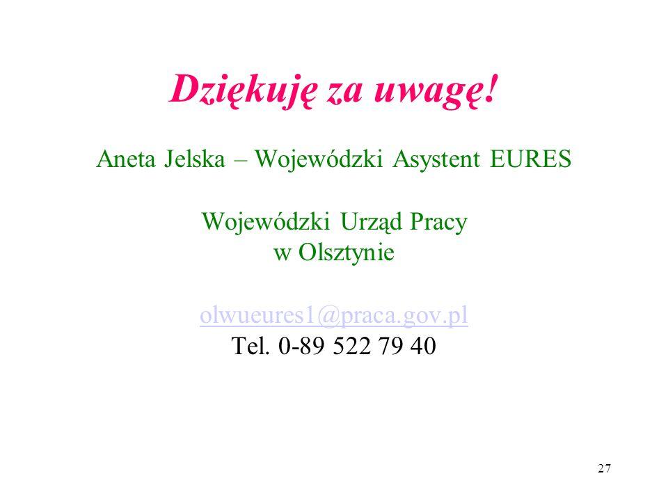Dziękuję za uwagę! Aneta Jelska – Wojewódzki Asystent EURES