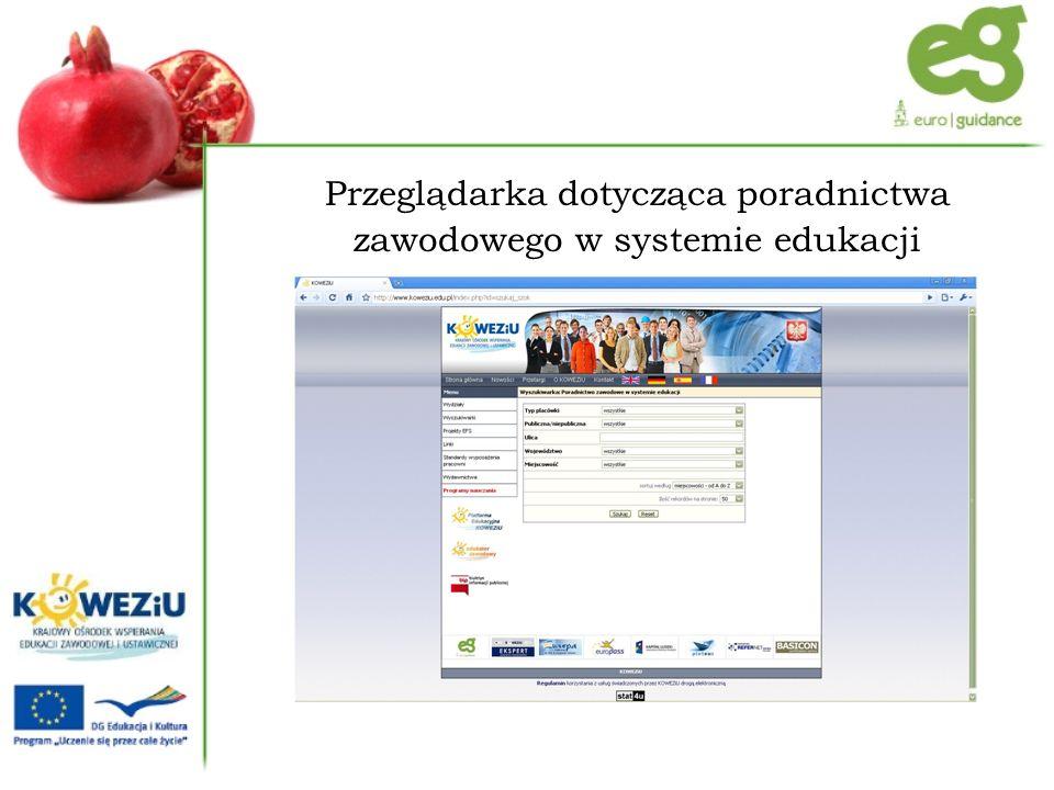 Przeglądarka dotycząca poradnictwa zawodowego w systemie edukacji