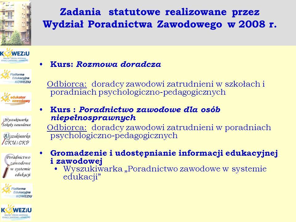 Zadania statutowe realizowane przez Wydział Poradnictwa Zawodowego w 2008 r.