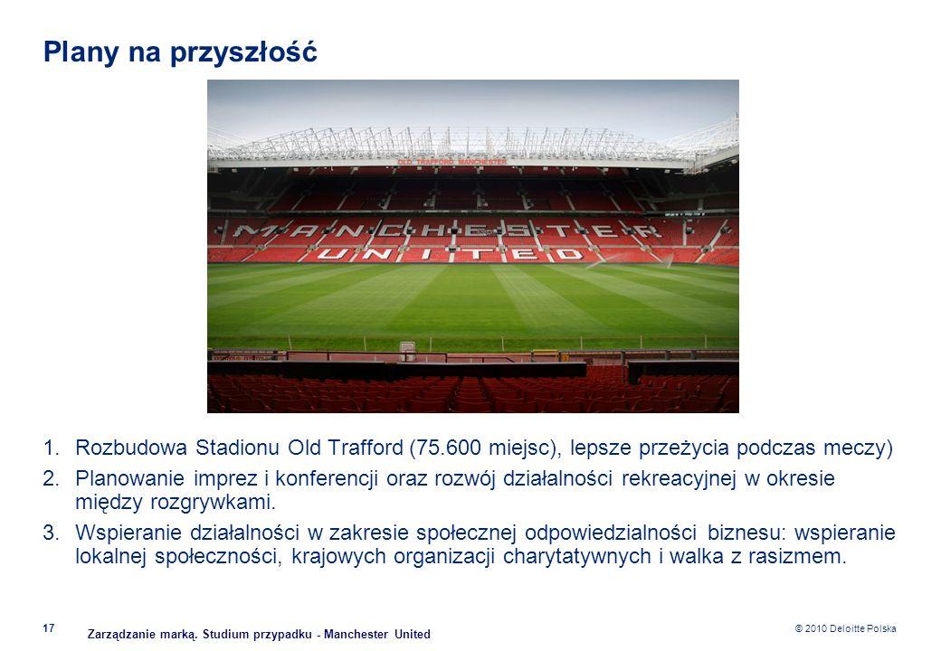 Plany na przyszłość Rozbudowa Stadionu Old Trafford (75.600 miejsc), lepsze przeżycia podczas meczy)