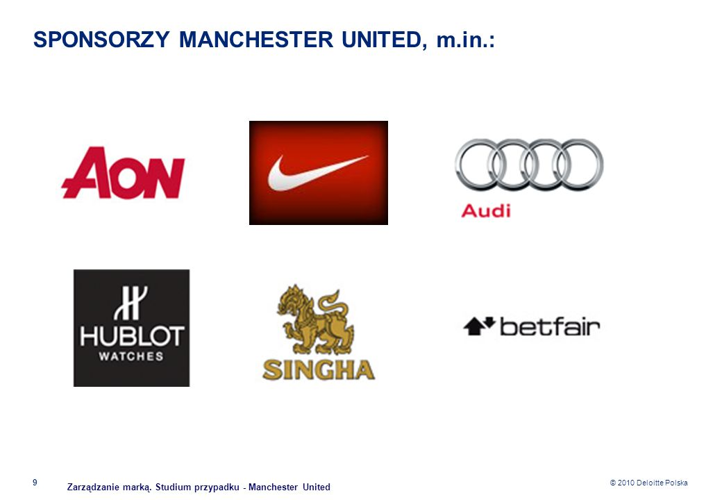SPONSORZY MANCHESTER UNITED, m.in.: