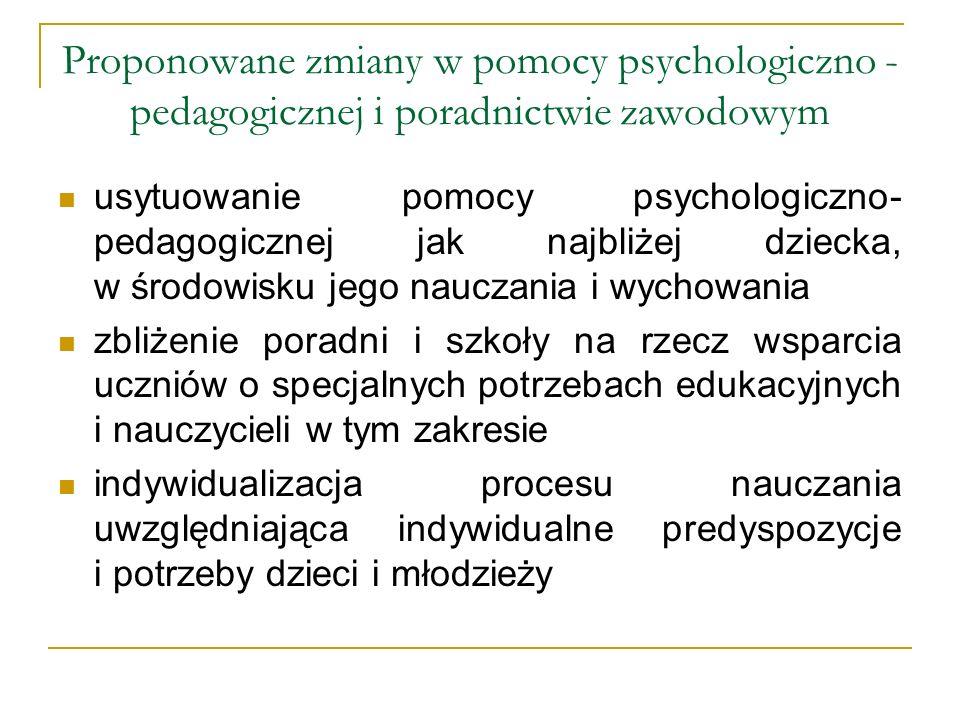 Proponowane zmiany w pomocy psychologiczno - pedagogicznej i poradnictwie zawodowym